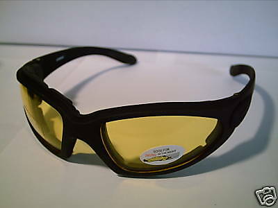 3 for $17 NIGHT RIDING BIKING THICKLY PADDED SPORT WRAP YELLOW VISION (Sunglasses For Riding Bikes)