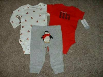 Baby Boy Clothes Carters 3M 3 Months Size Penguin 3pc Outfit Set 0-3 mos NWT NEW