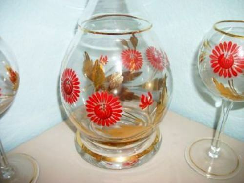 ITALIAN BOHEMIAN ART GLASS DECANTER SET RICH RED FLOWERS GILT MID CENTURY