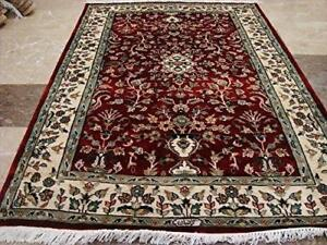 Red Ivory Floral Vaas Oriental Area Rug Hand Knotted Wool Silk Carpet (5.11 x 4.2)'