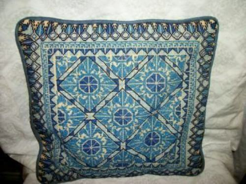 VINTAGE CROSS STITCH NEEDLEPOINT PILLOW UKRAINIAN INTRICATE BLUES SILK BACK