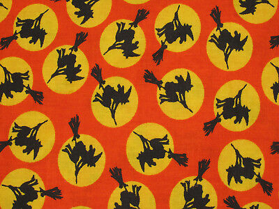 HALLOWEEN BLACK WITCH SILHOUETTE IN YELLOW MOON ON ORANGE 100% Cotton Fabric HY (Halloween Silhouette Craft)