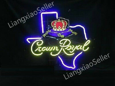 17x14 Crown Royal Whiskey Texas Beer Bar Real Neon Light Sign Free Ship