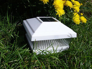 solar power path deck post cap light fence mount lamp white 5x5 ebay