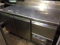 Caravell 2 Door Refrigerated Prep Under Counter Fridge/Stainless Steel