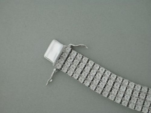 4 Row Men's Tennis Bracelet with Natural Diamonds in White Gold Finish 5