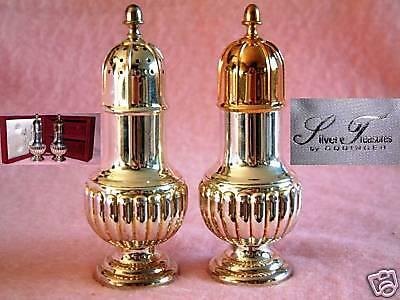 SILVER PLATED Gold Wash Godinger SALT & PEPPER SHAKERS