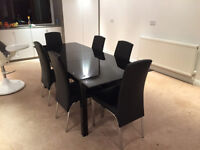 Extending Black Glass Dining Table with 6 Leather Black Chairs