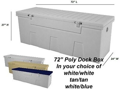 "72"" Poly Boat Dock Deck Pool Outdoor Patio Storage Box"
