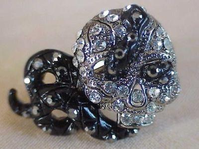 Crystal Skull Ring With Snake Through Eyes Lauren Spencer Fantasy Ring HALLOWEEN