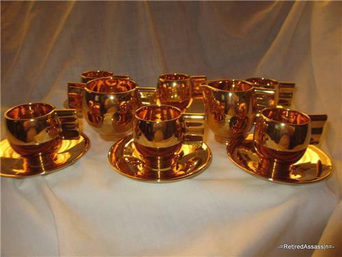 RARE Carlton Ware Vtg Gold Color Tea Set 6/Cups Plates Sugar Cream England Deco