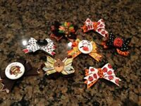 Fall Thanksgiving dog bows lot Yorkie Maltese Poodle/nautical