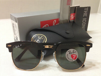 Ray Ban Clubmaster Sunglasses POLARIZED Green Lens Black/Gold Frame Size 51mm