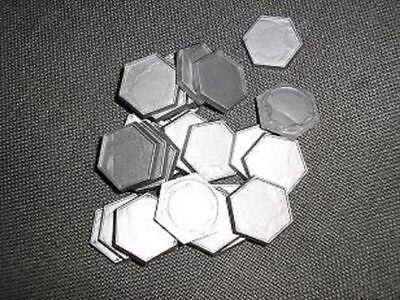 30 Plastic Hex Bases (lipped) for Battletech etc (B99)