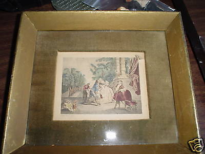 Vintage 1800s Print Woman and Men by Stairs - Lancret