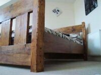 Hand Made Rustic Chunky reclaimed timber king size bed frame light oak finish
