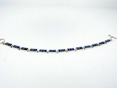 Link Bracelet in Sterling Silver with Bright Blue Created Opal Inlay 13 Links Blue Created Opal Inlay Bracelet