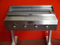 Rotoquip Commercial Catering 4 Burner Charcoal Grill Flame Burger Grill on Stand with Full Gridldle