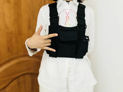 Tactical Harness Radio Chest Front Pack Bag Holster Vest Rig For Radio