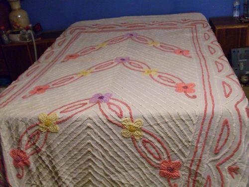 Vintage Purple Chenille Bedspread Ebay