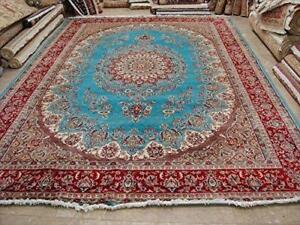 Sea Blue Floral Oriental Area Rug Hand Knotted Wool Silk Carpet (9 x 12)'