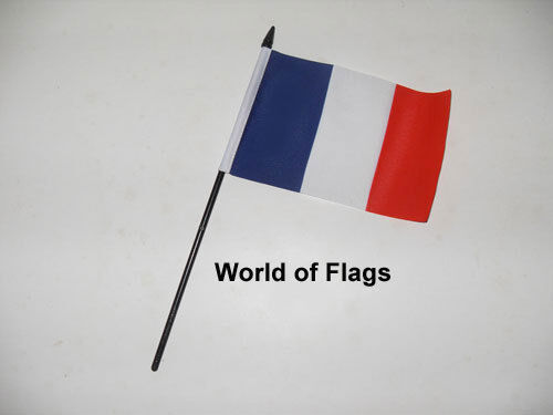 """FRANCE SMALL HAND WAVING FLAG 6"""" x 4"""" French Crafts Table Desk Top Display"""
