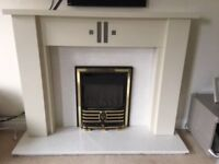 Lovely wooden fireplace surround and marble granite hearth & Backboard