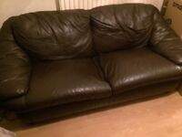 Brown Leather Sofas - 3 and 2 Seater