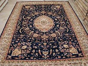 Exclusive Mid Night Blue Floral Oriental Hand Knotted Area Rug Wool Silk Carpet (9 x 12)'