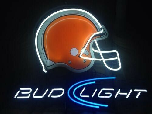 "New Cleveland Browns Bud-Light Helmet Beer Bar Neon Sign 20""x16"" Real Glass"