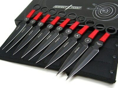 "Perfect Point Black Red 6.25"" Throwers Throwing Knives 9 Knife Set + Sheath"