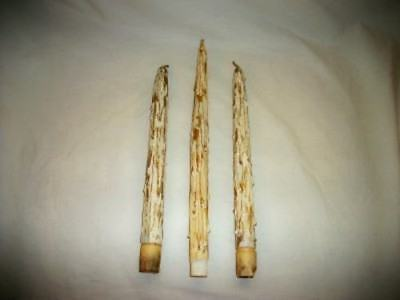 3 Vintage Mid Century Wood Drip Faux Candles Gold and White Chippy Chic Shabby