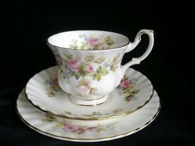 Royal Albert China MOSS ROSE TRIO Cup, Saucer & Side Plate