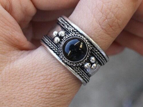 Large Adjustable Tibetan Round Onyx Gemstone Weaving Dotted Ring Thumb Ring
