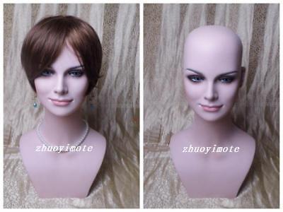 Realistic Fiberglass Female Mannequin Head For Wigjewelry Display