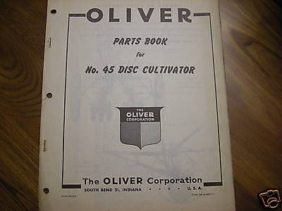 Oliver Tractor 45 Disc Cultivator Dealers Part Book