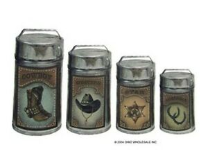 tin metal 4 pc western country metal kitchen canisters