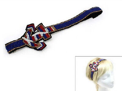 Blue, Red, and White Sea Beaded Anchor Stretch Headband