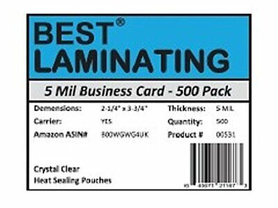 Best Laminating - 5 Mil Business Card  Pouches - 2.25 x 3.75 2 pks of 500