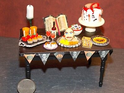 Dollhouse Miniature Halloween Party Table Food 1:12 scale Dollys Gallery E29