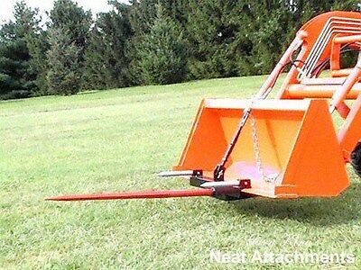 """HD Bucket Hay Bale Spear Attachment For Front Loader & Skid Steer w/ 49"""" Prong"""