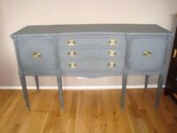 Vintage Shabby Chic Sideboard Buffet Server painted in Annie Sloan 'Graphite' Grey