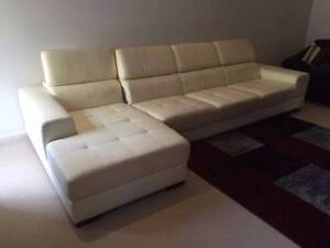 White 4 Seater with Chaise Leather Lounge Hinchinbrook Liverpool Area Preview