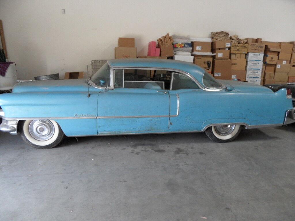 1955 Cadillac DeVille Blue 1955 cadillac coupe Deville barn find all original no rust California car