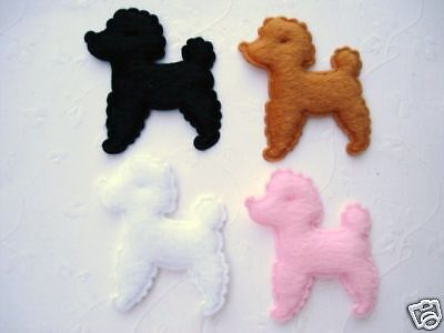 40 Poodle Dog Furry Felt Applique/puppy/pet/doll/Craft/Bow/Trim/Sewing/Baby H73