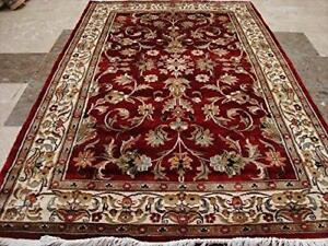 Excellent Designed Flowers Allover Love Rectangle Area Rug Hand Knotted Wool Silk Carpet (6 x 4)'