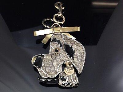Auth GUCCI GG Guccioli Key Holder Charm Dog Great Dane Vintage 7H160410#