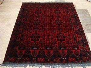 Rectangle Area Rug Amazing Khal Muhamadi Fine Afghan Dark Red Hand Knotted Wool Carpet (6.3 x 5)'
