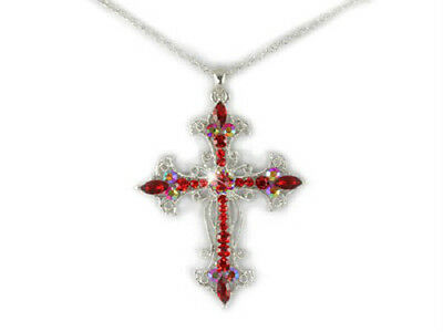 Religious Crystal - Cross Siam Red Crystal Religious Christian Gift Stunning Jewelry Necklace #492-A