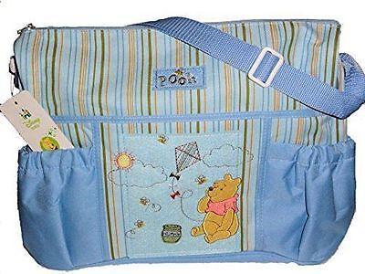 -  Disney Winnie Pooh Regent Baby Product Corp BLUE Diaper Bag TRAVEL BOTTLE BAG
